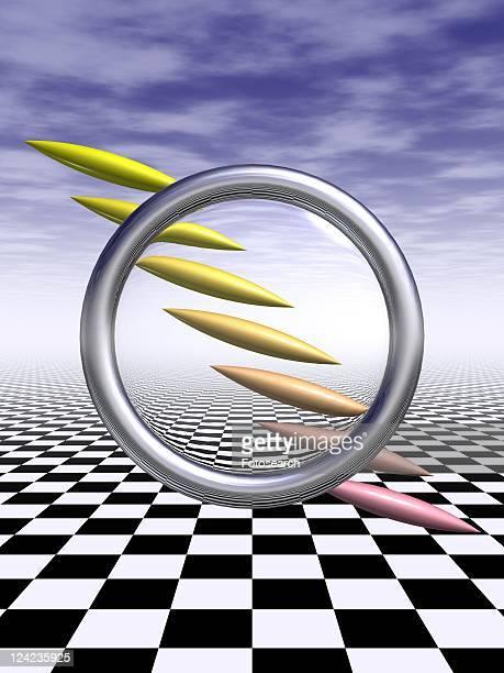 Metallic ring and sharpened bars