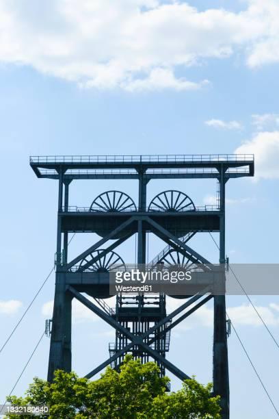 metallic shaft tower at dortmund, north rhine westphalia, germany - dortmund city stock pictures, royalty-free photos & images
