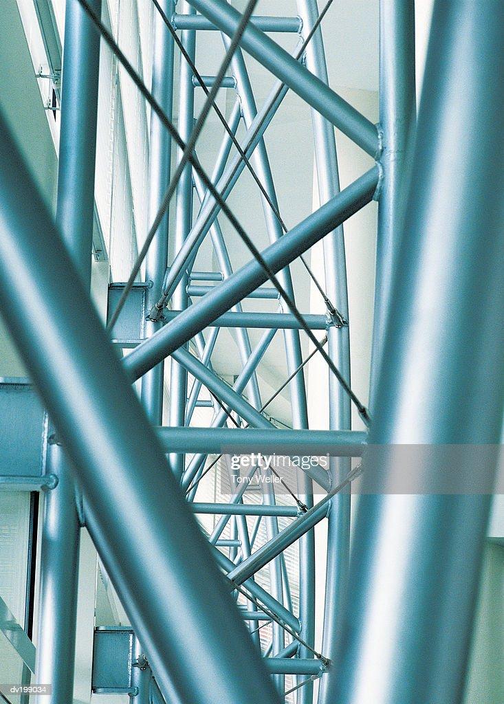 Metallic support beams : Stock Photo