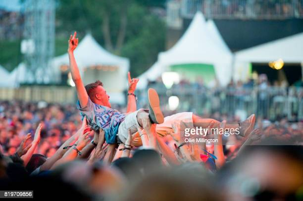 Metallica fan crowd surfs on day 9 of the 50th Festival D'ete De Quebec headlined by Metallica on the Main Stage at the Plaines D' Abraham on July 14...