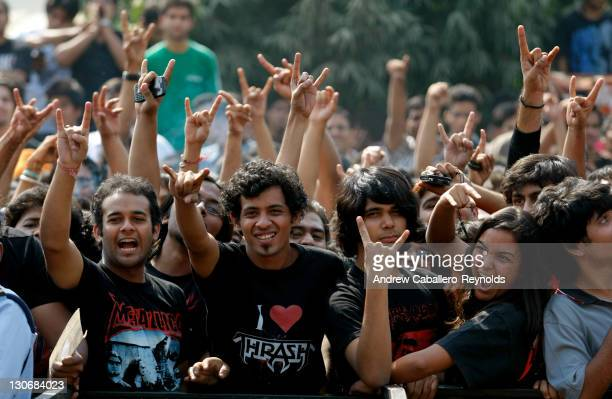 Metallica fans await entry to the gig on October 28 2011 in Delhi India