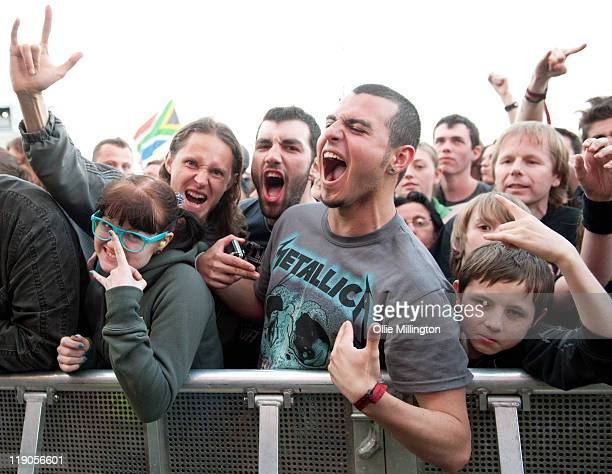 Metallica fans during the Metallica performance onstage at Sonisphere Festival at Knebworth House on July 8 2011 in Stevenage England