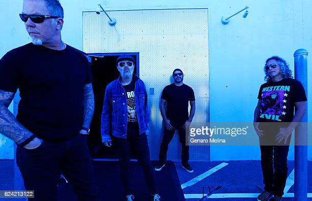 Metallica featuring Robert Trujillo from left Lars Ulrich Kirk Hammett and James Hetfield are photographed for Los Angeles Times on November 17 2016...