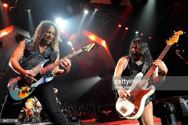 Metallica guitarist Kirk Hammett and bassist Robert Trujillo perform during a soldout concert at the Mandalay Bay Events Center December 5 2009 in...