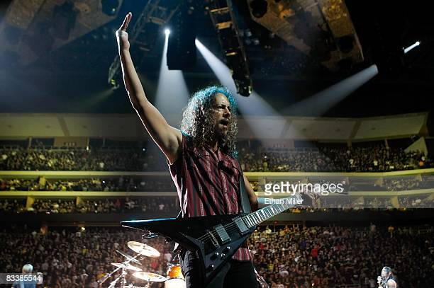 Metallica guitarist Kirk Hammett performs as the band kicks off a world tour in support of the new album Death Magnetic at the Jobingcom Arena...
