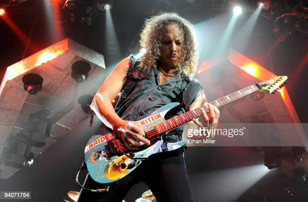 Metallica guitarist Kirk Hammett performs during a sold-out concert at the Mandalay Bay Events Center December 5, 2009 in Las Vegas, Nevada. The band...