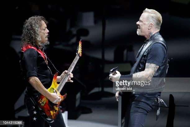 "Metallica ""HardwiredÖto SelfDestruct""Tour James Hetfield Kirk Hammett Robert Trujillo und Lars Ulrich am 14 September 2017 in der LanxessArena Köln"