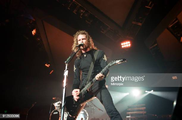 Metallica in concert at the NEC Arena, Birmingham. James Hetfield, lead singer and guitarist with the band, 4th November 1992.