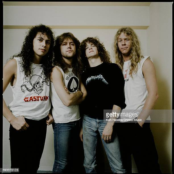 Metallica in photo session at a hotel, Tokyo, November 1986.