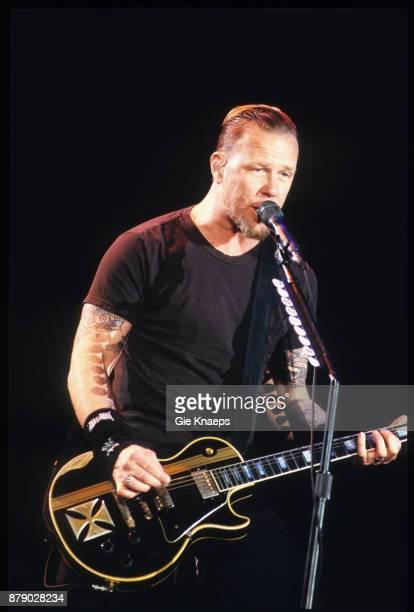 Metallica James Hetfield performing on stage Rock Werchter Festival Werchter Belgium 2nd July 2004
