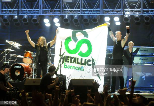 Metallica on stage during Bonnaroo 2008 on June 13, 2008 in Manchester, Tennessee.
