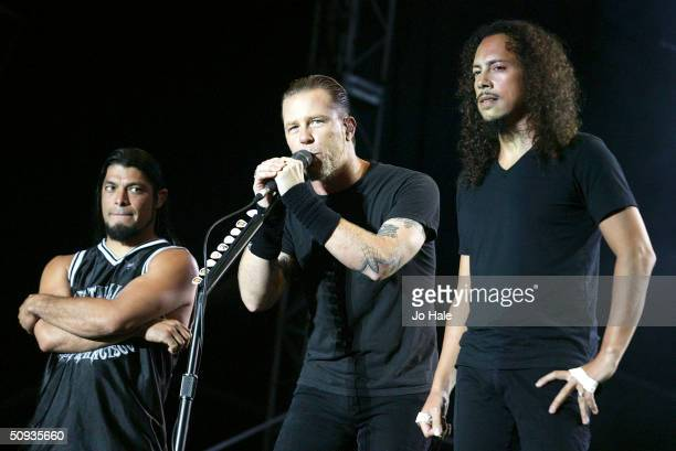 Metallica perform on stage at day two of the Download Festival at Donington Park on June 6 2004 in Leicestershire England The rock festival features...