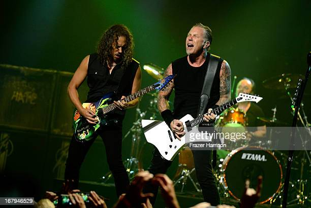 Metallica Robert Trujillo James Hetfield perform at the 5th Annual Revolver Golden Gods Award Show at Club Nokia on May 2 2013 in Los Angeles...