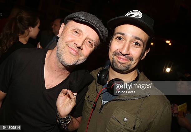 "Metallica's Lars Ulrich and Lin Manuel Miranda pose backstage at the hit musical ""Hamilton"" on Broadway at The Richard Rogers Theatre on July 2, 2016..."