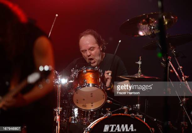 Metallica's Lars Ulrich performs at the 5th Annual Revolver Golden Gods Award Show at Club Nokia on May 2 2013 in Los Angeles California