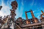 metallurgical plant factory blast furnace smokestacks