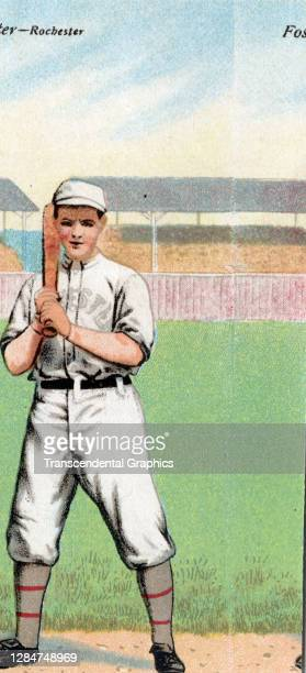 Metamorphic baseball card features baseball player Eddie Foster, of the Eastern League's Rochester Red Wings, 1911.