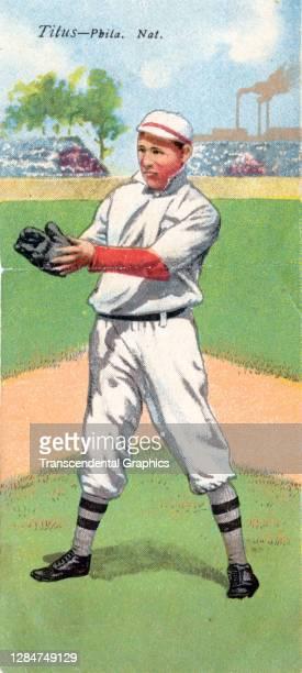Metamorphic baseball card features baseball player John Titus, of the Philadelphia Phillies, 1911.