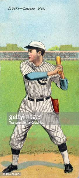 Metamorphic baseball card features baseball player Johnny Evers, of the Chicago Cubs, 1911.