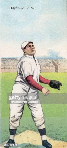 Metamorphic baseball card features baseball player Larry Doyle, of the New York Giants, 1911.