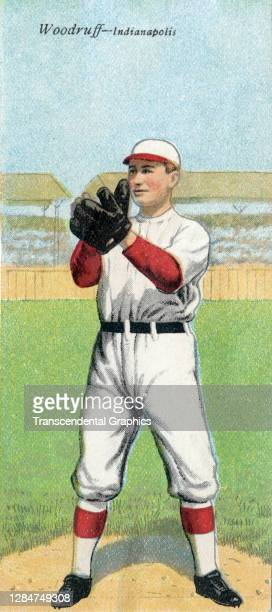 Metamorphic baseball card features baseball player Orville Woodruff, of the features Association's Indianapolis team, 1911.