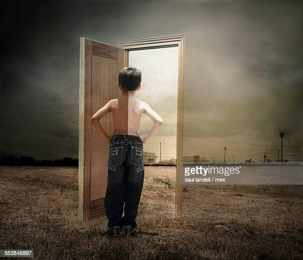 metaphysical child - magic doors stock pictures, royalty-free photos & images