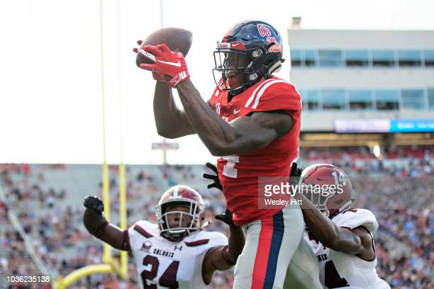 K Metcalf of the Mississippi Rebels catches a pass during a game against the Southern Illinois Salukis at VaughtHemingway Stadium on September 8 2018...