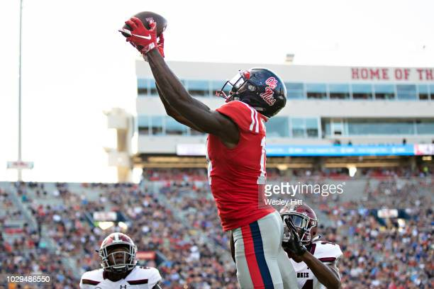 K Metcalf of the Mississippi Rebels catches a pass for a touchdown during a game against the Southern Illinois Salukis at VaughtHemingway Stadium on...