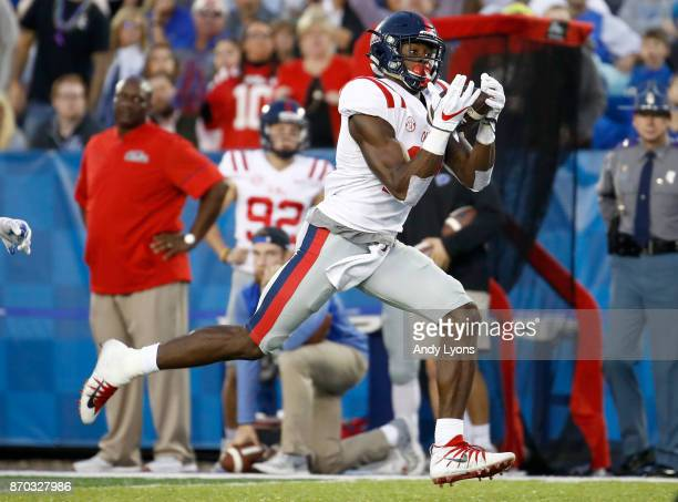 K Metcalf of the Mississippi Rebels catches a pass for a touchdown against the Kentucky Wildcats at Commonwealth Stadium on November 4 2017 in...