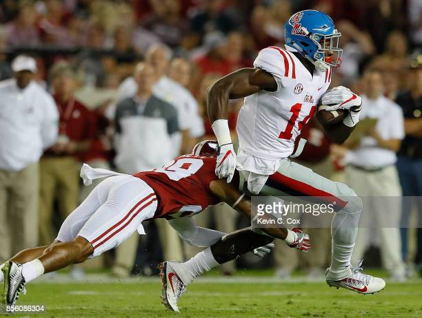 K Metcalf of the Mississippi Rebels pulls in this reception against Anthony Averett of the Alabama Crimson Tide at BryantDenny Stadium on September...