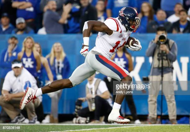 K Metcalf of the Mississippi Rebels runs for a touchdown against the Kentucky Wildcats at Commonwealth Stadium on November 4 2017 in Lexington...