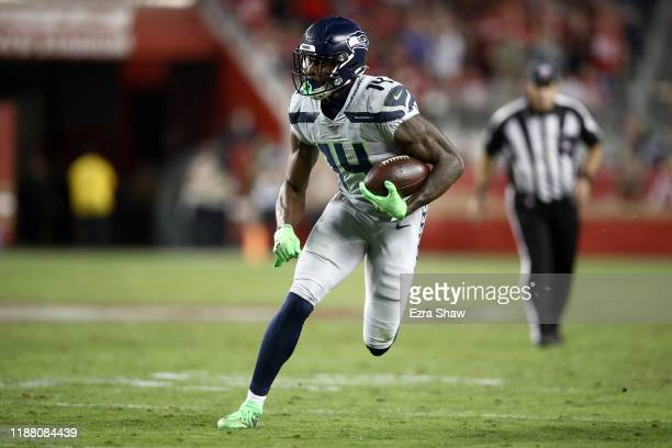 K Metcalf of the Seattle Seahawks in action against the San Francisco 49ers at Levi's Stadium on November 11 2019 in Santa Clara California