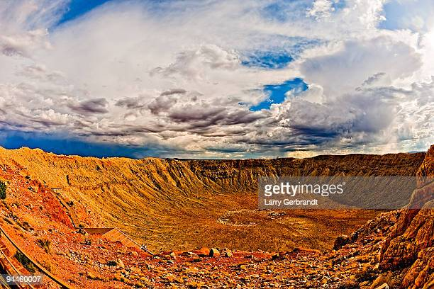 meteor crater interior - meteor crater stock photos and pictures