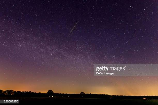 A meteor of the lyrids in the sky is seen on April 22 2020 in Schermbeck Germany