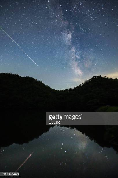 天の川を渡って光の証跡を残し空夜空流星撮影します。