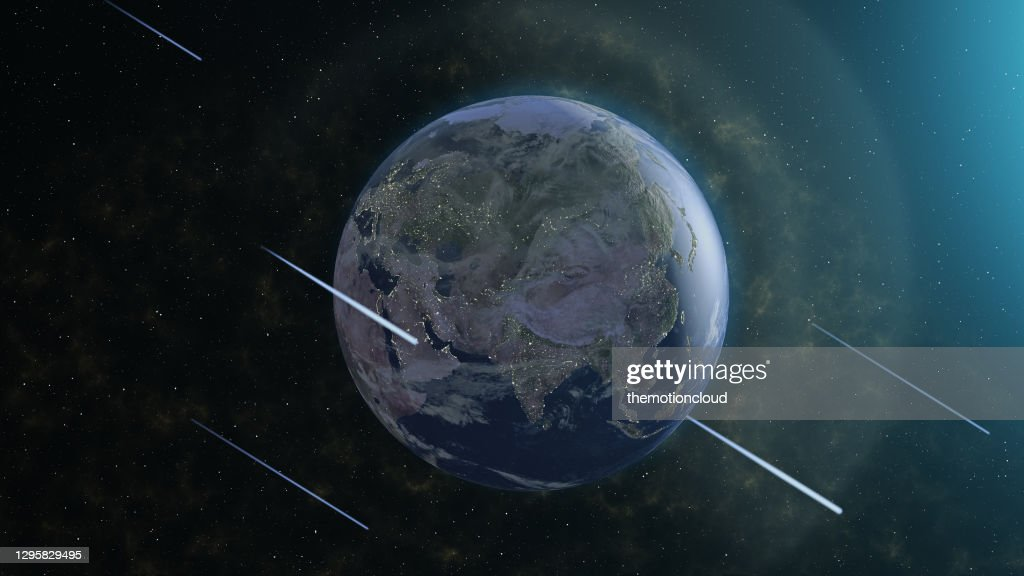 Meteor Shower and Earth : Stock Photo
