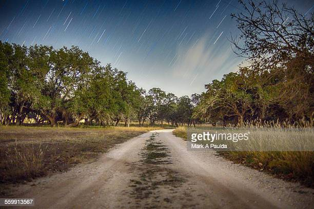 Meteor shower over nature trail