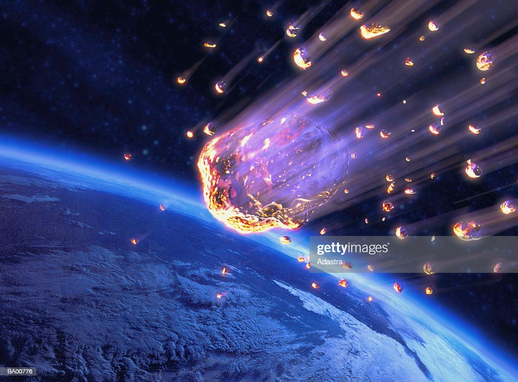 Meteor shower speeding toward Earth (digital composite) : 圖庫照片