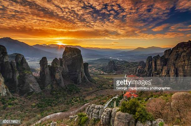 Meteora holy sunset