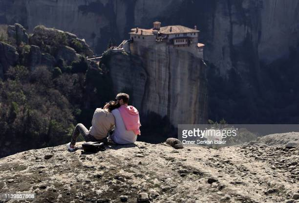 meteora monasteries - thessaly stock pictures, royalty-free photos & images