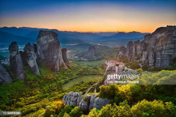 meteora panorama & sunset - cloister stock pictures, royalty-free photos & images