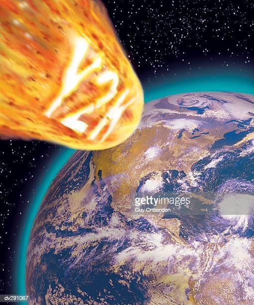 y2k meteorite flying towards earth - 西暦2000年 ストックフォトと画像