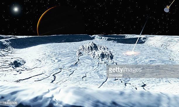 Meteoroid impact on Rhea