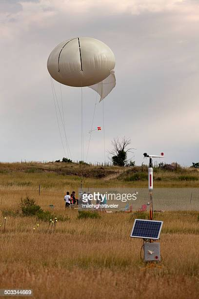 meteorological station and weather balloon science team colorado - weather balloon stock pictures, royalty-free photos & images