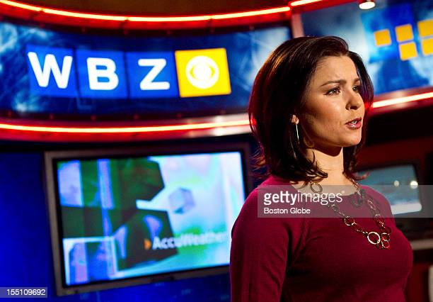 Meteorologist Melissa Mack presents a weather forecast during a new 430 AM newscast in the studio of WBZTV Channel 4