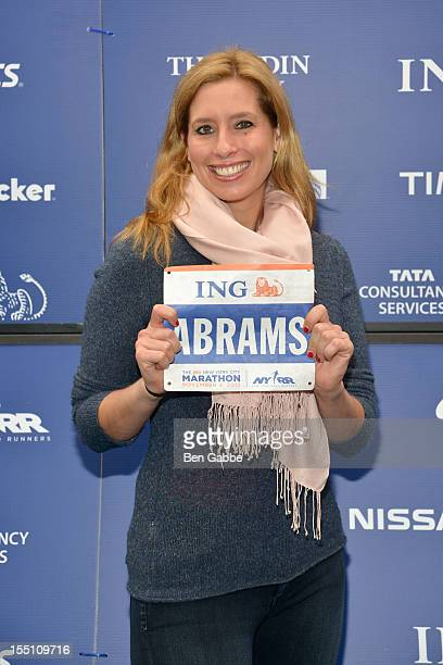 Meteorologist Stephanie Abrams attends 2012 ING New York City Marathon Celebrity Runners Photo Call at ING New York City Marathon Media Center on...