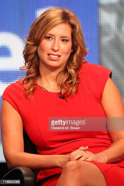 Meteorologist Stephanie Abrams speaks during The Weather Channel portion of the 2011 Summer TCA Tour at the Beverly Hilton on July 27 2011 in Beverly...