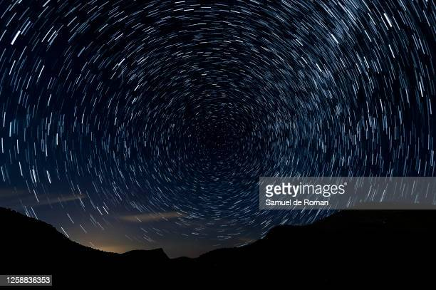 Meteors along the Milky Way en the sky on July 25, 2020 in Sad Hill, Contreras, Spain. Perseids can be seen between the days of July 17 to August 24...