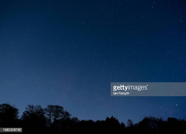Meteors from the Geminid Meteor shower streak across the night sky on December 14 2018 in Saltburn By The Sea United Kingdom The Geminid meteor...