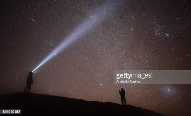 Meteors named as 'Geminid' streak across the sky over Turkey's Usak on December 13 2017